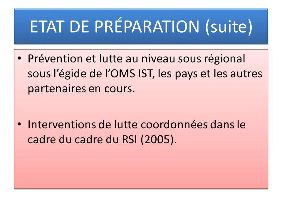 ETAT DE PRÉPARATION (suite)