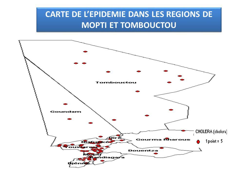 CARTE DE L'EPIDEMIE DANS LES REGIONS DE MOPTI ET TOMBOUCTOU