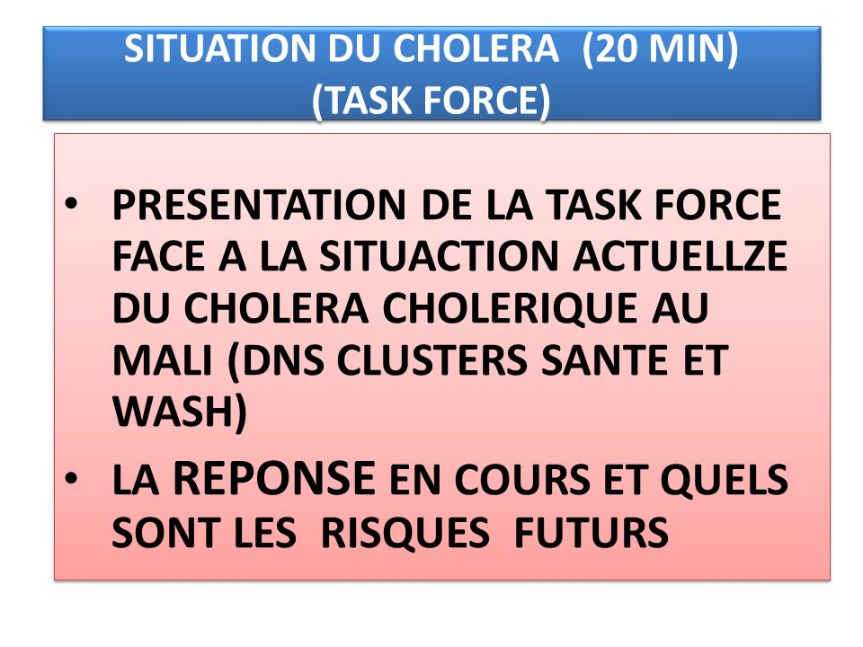 SITUATION DU CHOLERA (20 MIN) (TASK FORCE)