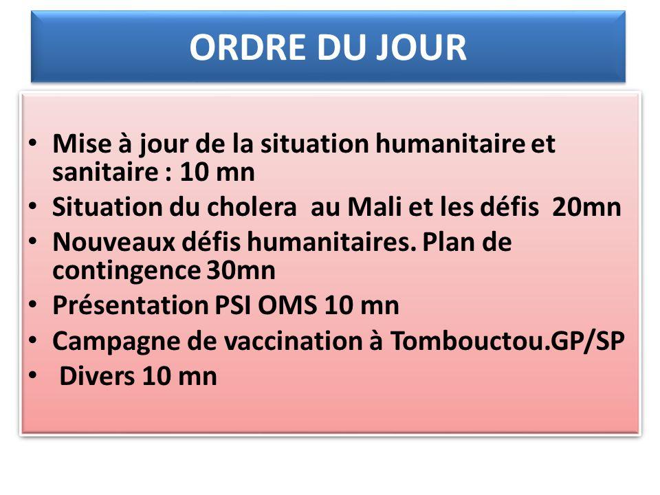 ORDRE DU JOUR Mise à jour de la situation humanitaire et sanitaire : 10 mn. Situation du cholera au Mali et les défis 20mn.
