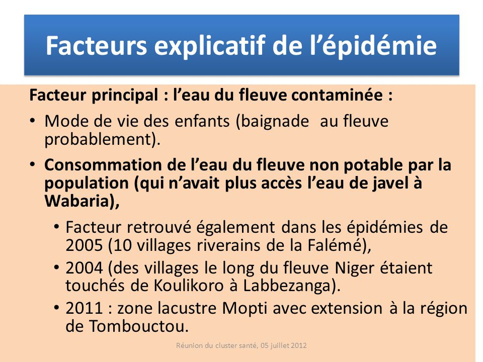 Facteurs explicatif de l'épidémie