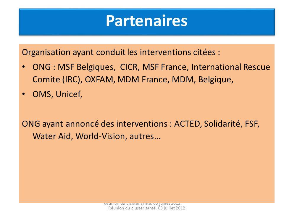 Partenaires Organisation ayant conduit les interventions citées :