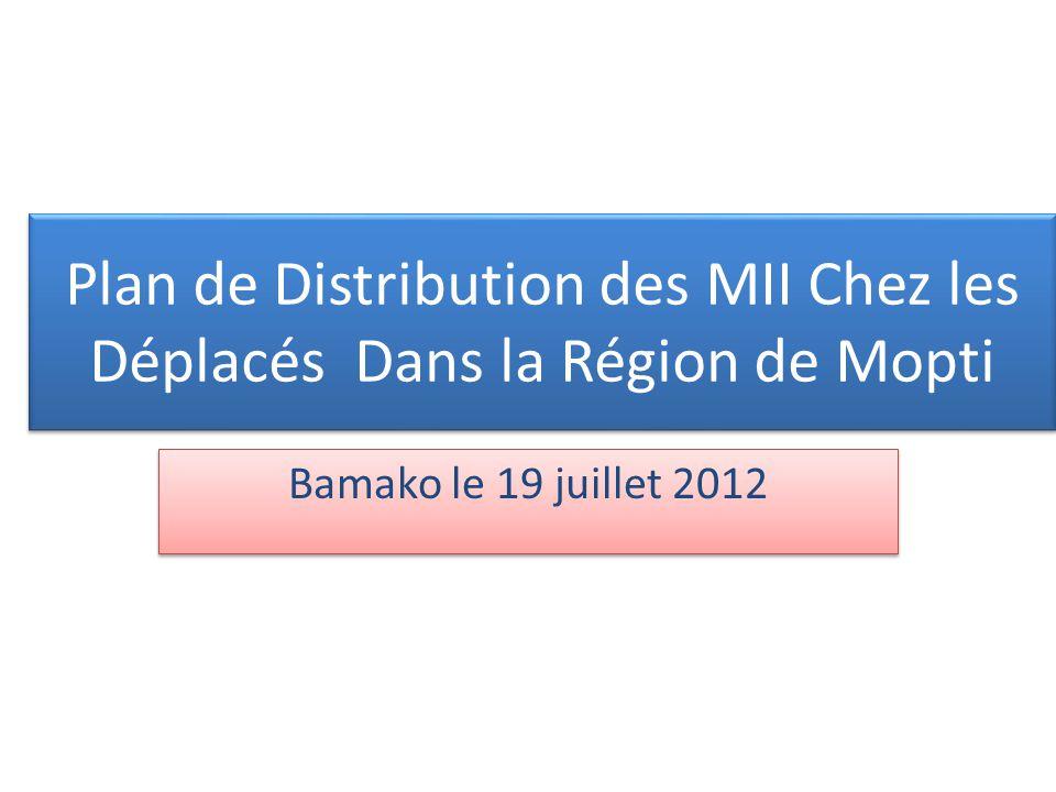 Plan de Distribution des MII Chez les Déplacés Dans la Région de Mopti