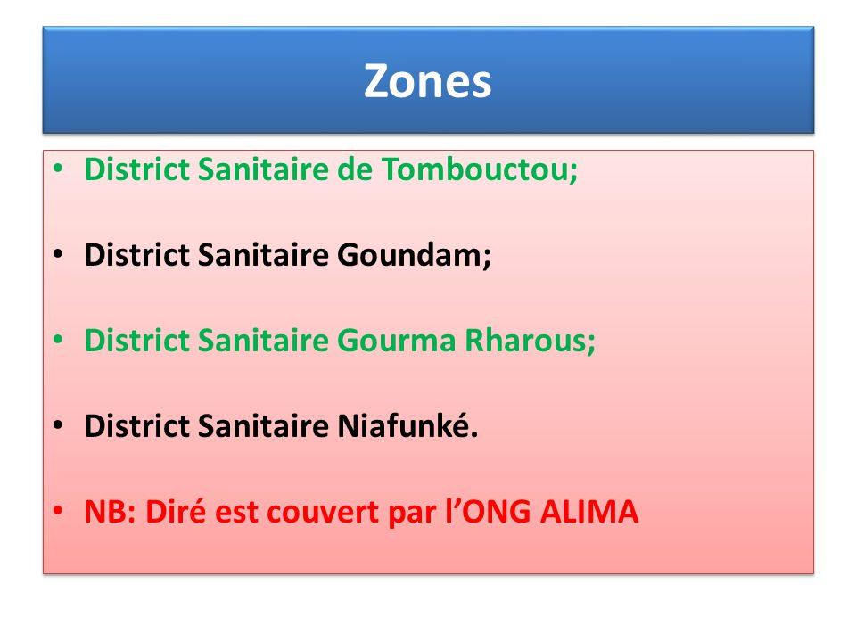 Zones District Sanitaire de Tombouctou; District Sanitaire Goundam;