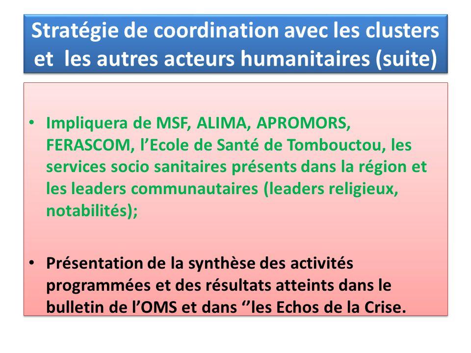 Stratégie de coordination avec les clusters et les autres acteurs humanitaires (suite)