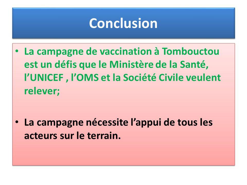 Conclusion La campagne de vaccination à Tombouctou est un défis que le Ministère de la Santé, l'UNICEF , l'OMS et la Société Civile veulent relever;
