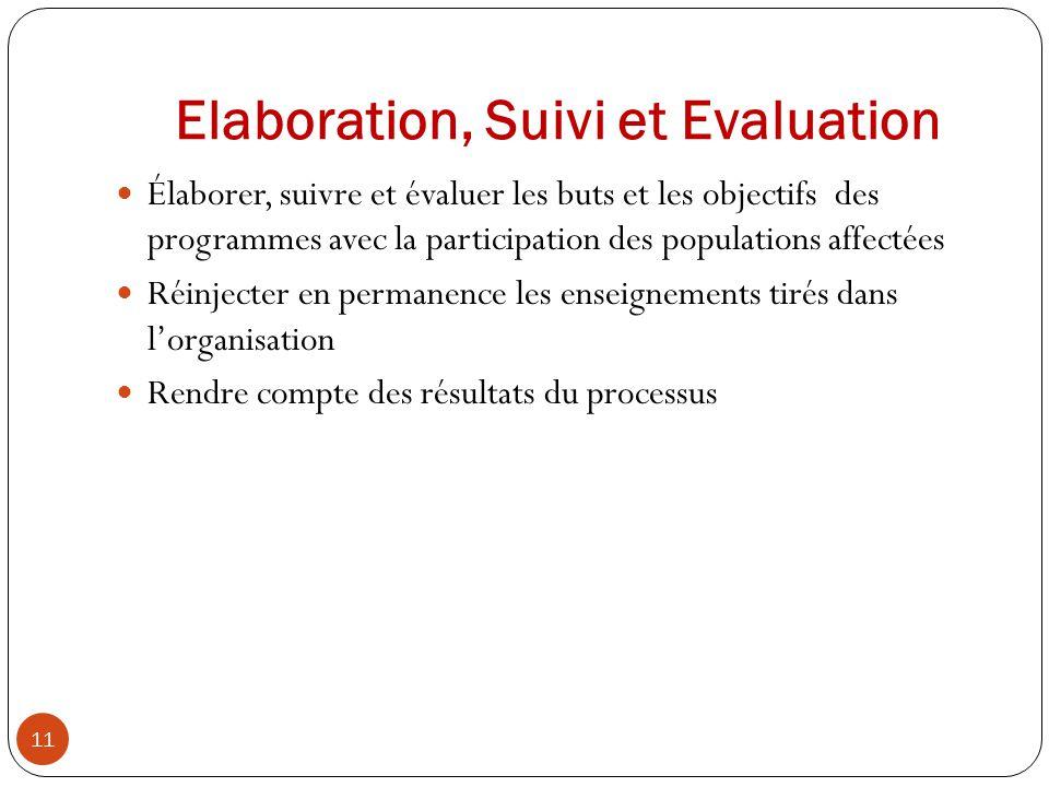 Elaboration, Suivi et Evaluation