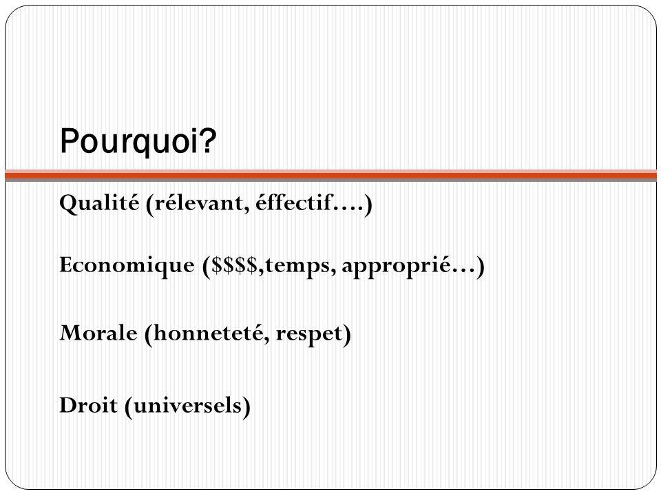 Pourquoi Qualité (rélevant, éffectif….) Economique ($$$$,temps, approprié…) Morale (honneteté, respet)