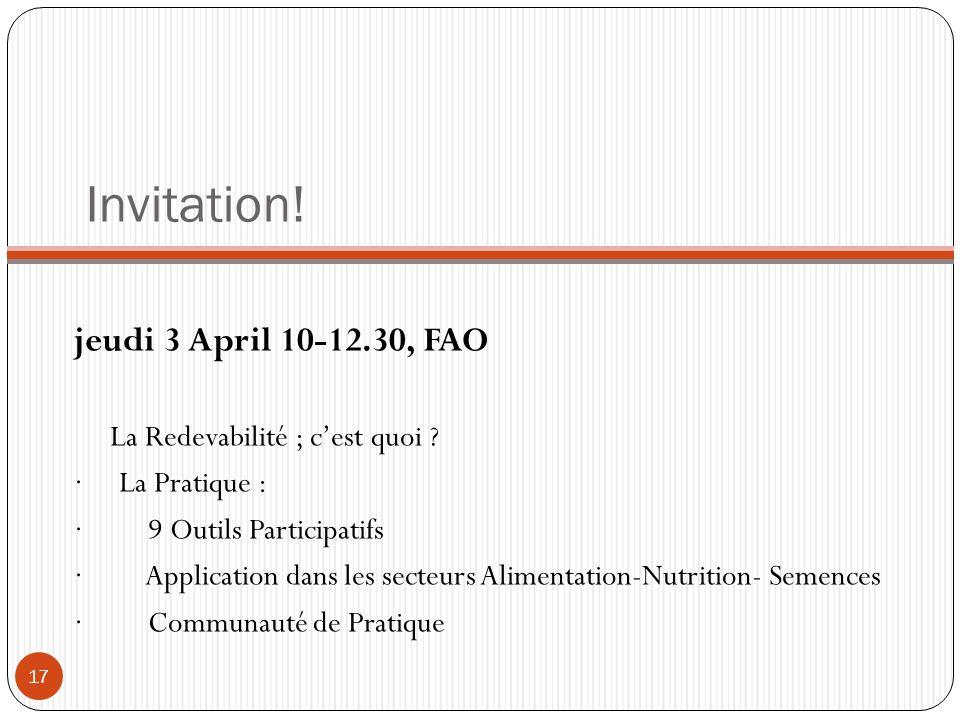 Invitation! jeudi 3 April 10-12.30, FAO La Redevabilité ; c'est quoi