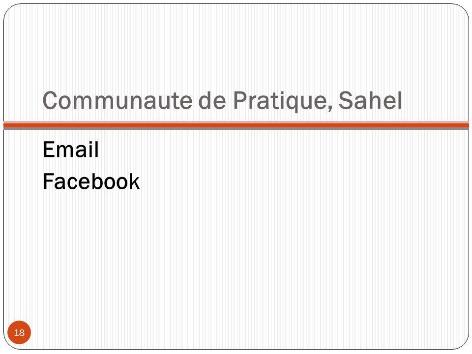 Communaute de Pratique, Sahel