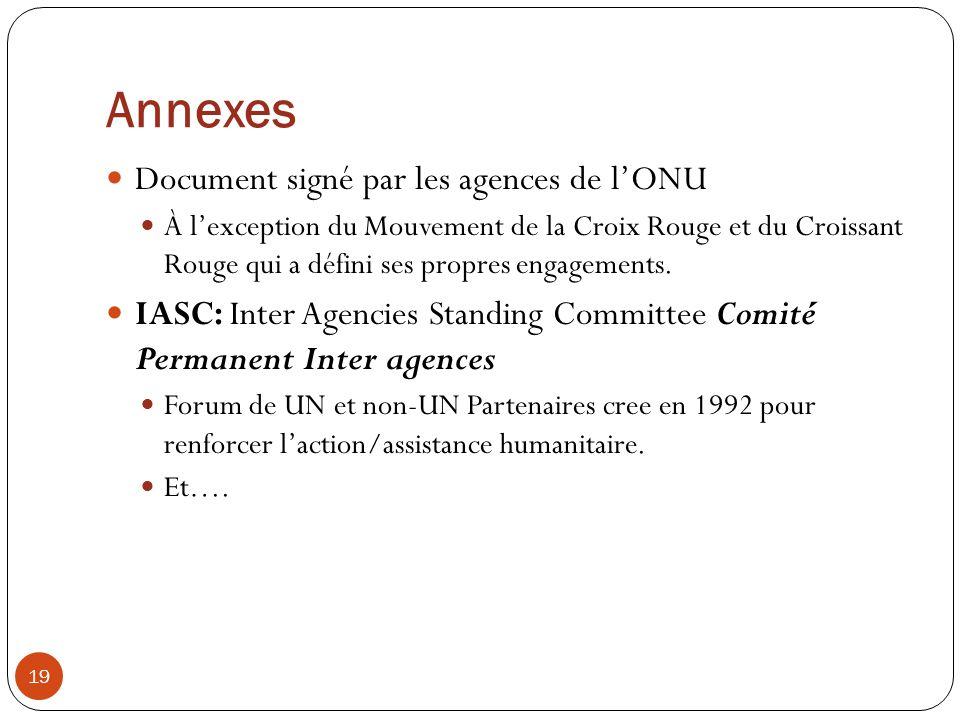 Annexes Document signé par les agences de l'ONU