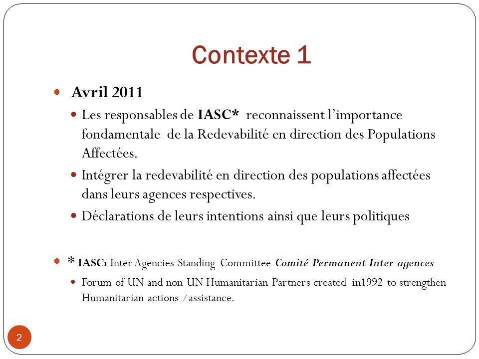 Contexte 1 Avril 2011.