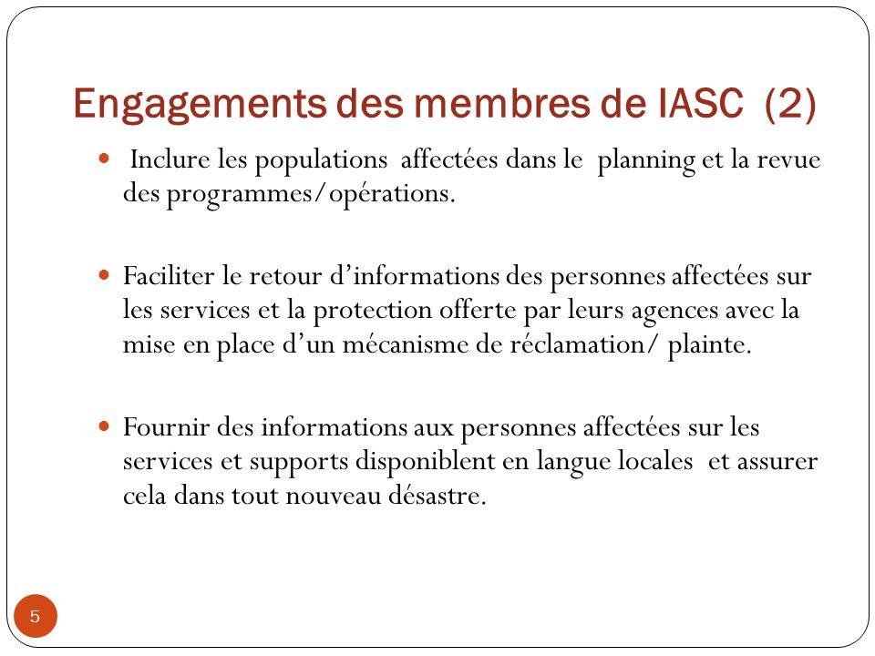 Engagements des membres de IASC (2)