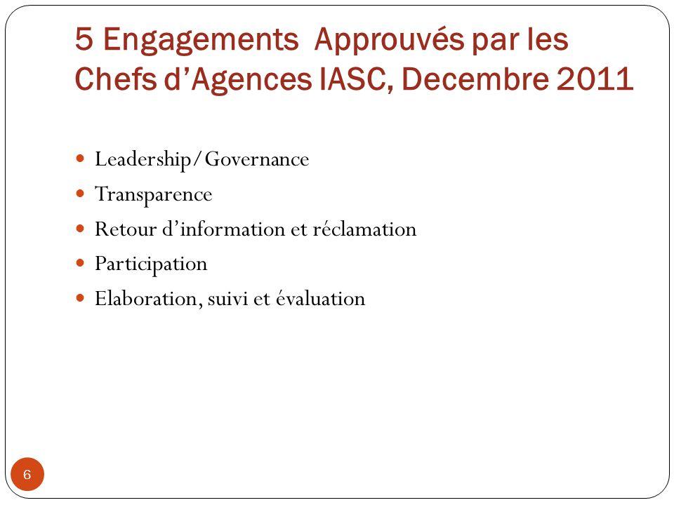5 Engagements Approuvés par les Chefs d'Agences IASC, Decembre 2011