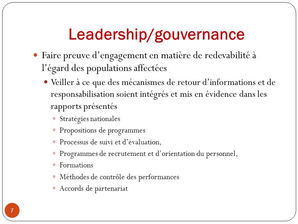 Leadership/gouvernance