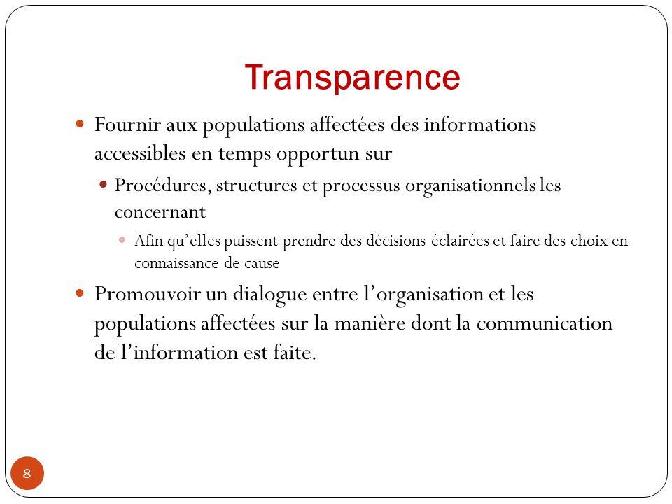 Transparence Fournir aux populations affectées des informations accessibles en temps opportun sur.