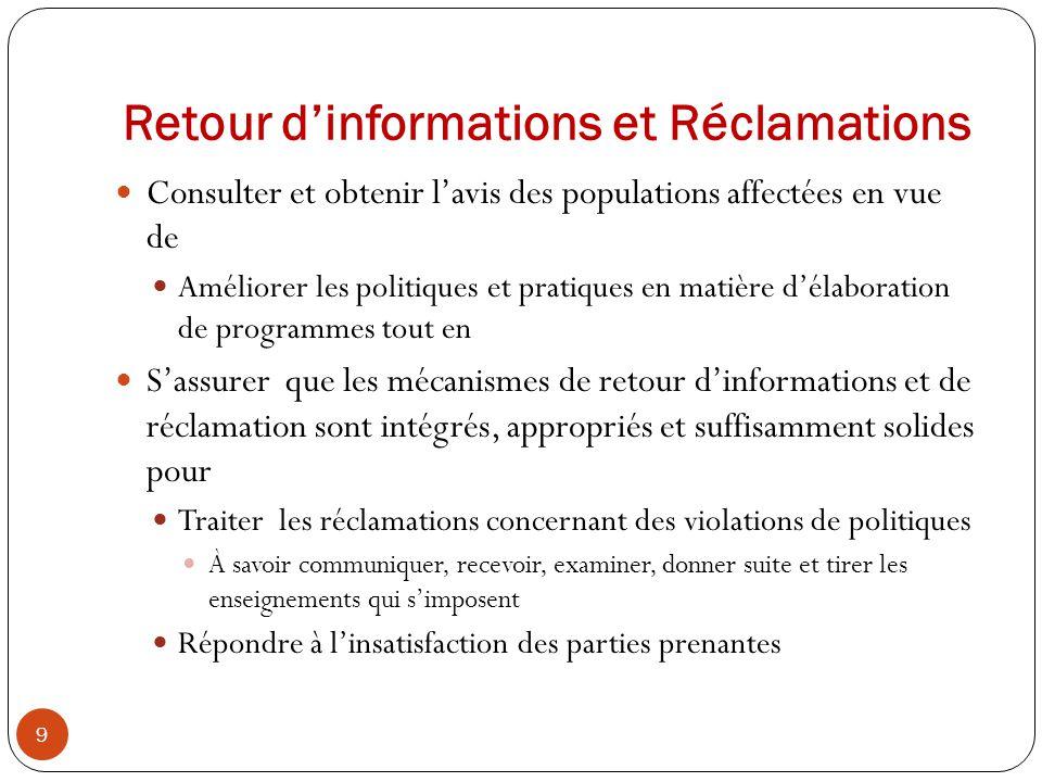 Retour d'informations et Réclamations