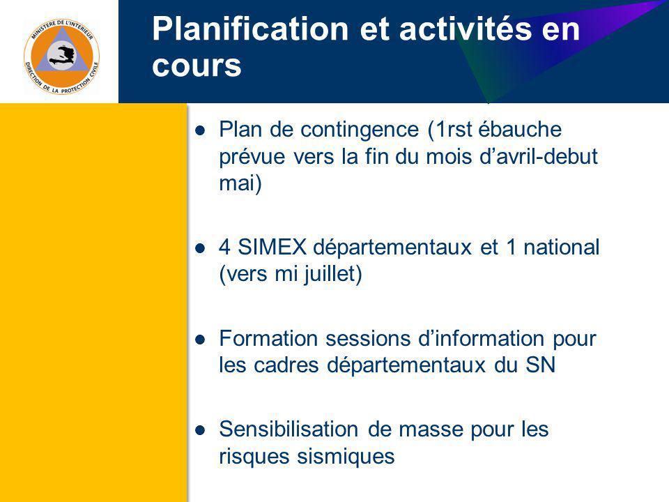 Planification et activités en cours