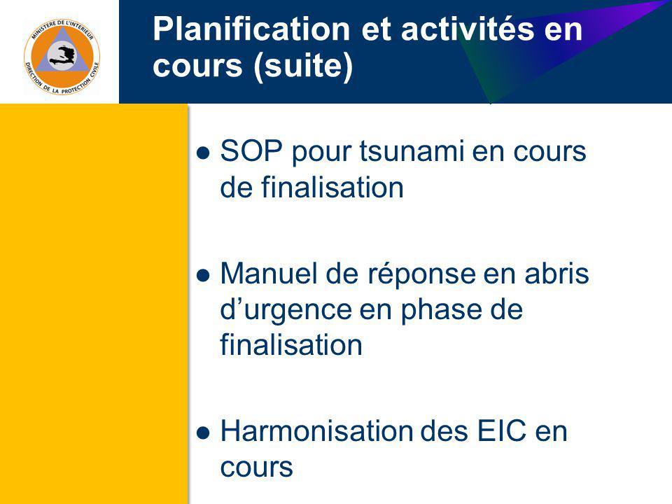 Planification et activités en cours (suite)