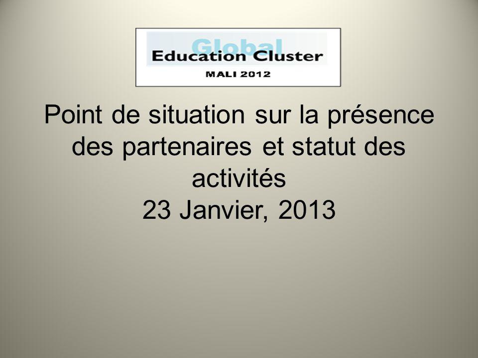 Point de situation sur la présence des partenaires et statut des activités 23 Janvier, 2013
