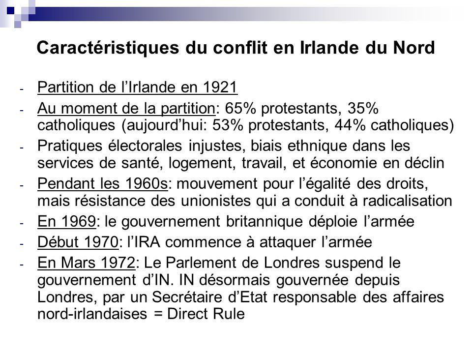 Caractéristiques du conflit en Irlande du Nord
