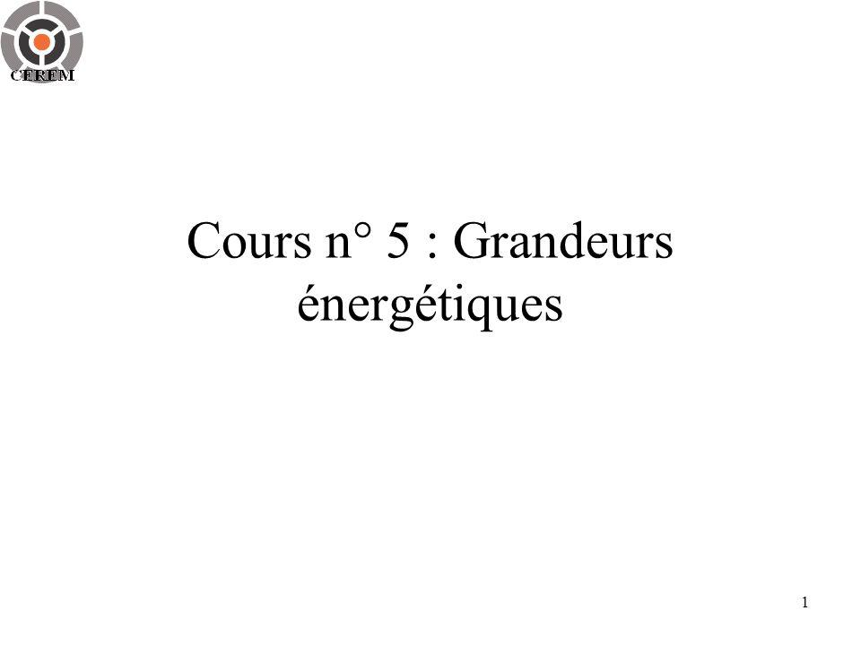 Cours n° 5 : Grandeurs énergétiques