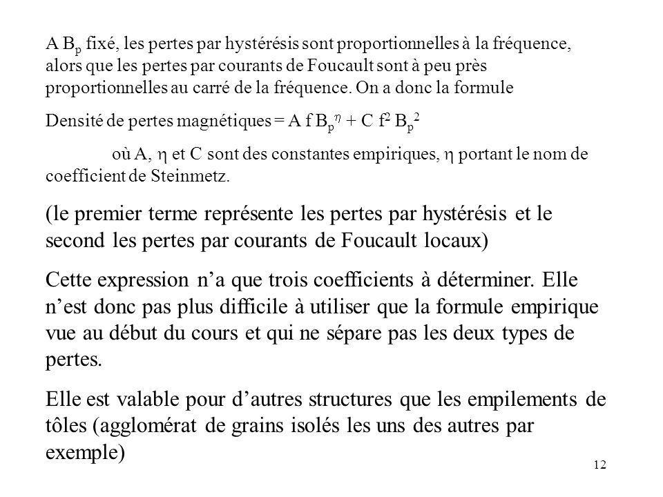 A Bp fixé, les pertes par hystérésis sont proportionnelles à la fréquence, alors que les pertes par courants de Foucault sont à peu près proportionnelles au carré de la fréquence. On a donc la formule