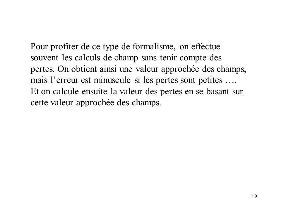 Pour profiter de ce type de formalisme, on effectue souvent les calculs de champ sans tenir compte des pertes.