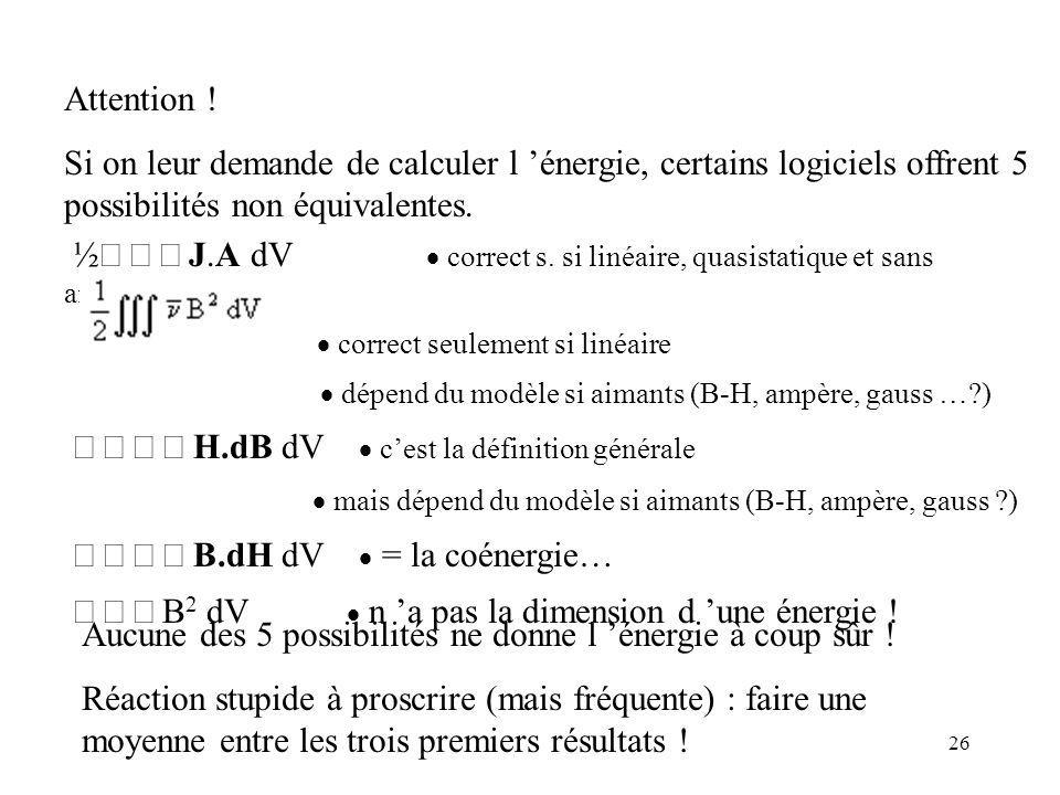 ½ò ò ò J.A dV  correct s. si linéaire, quasistatique et sans aimants