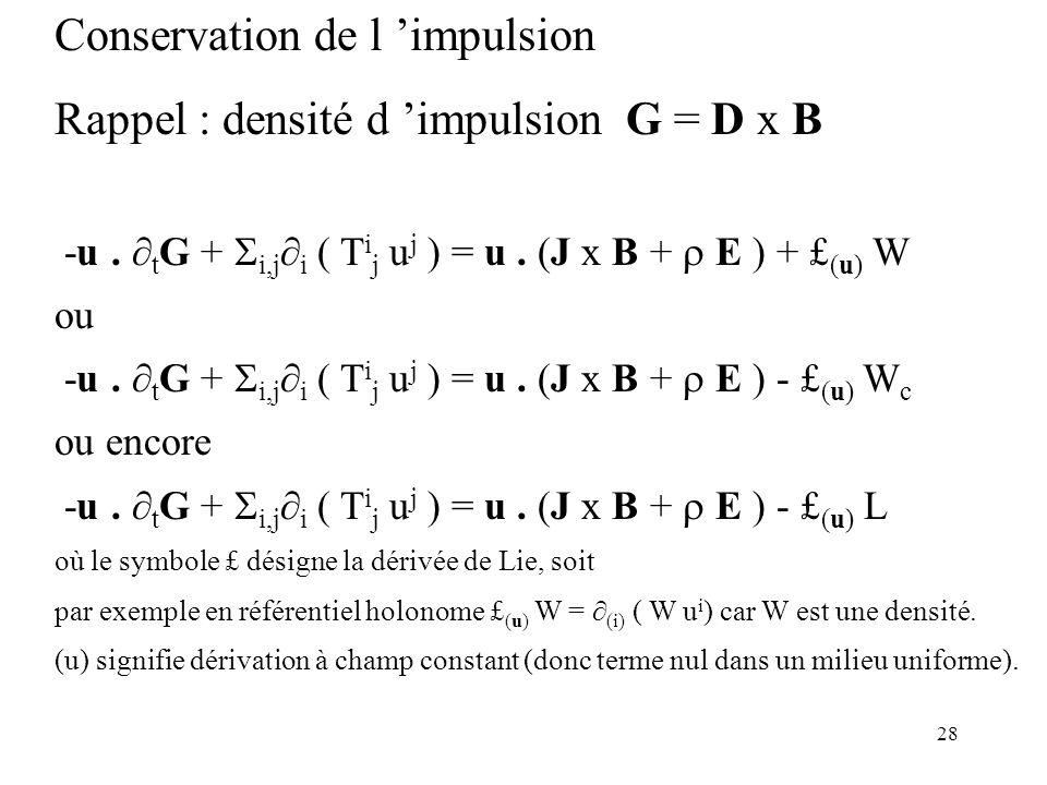 Conservation de l 'impulsion Rappel : densité d 'impulsion G = D x B