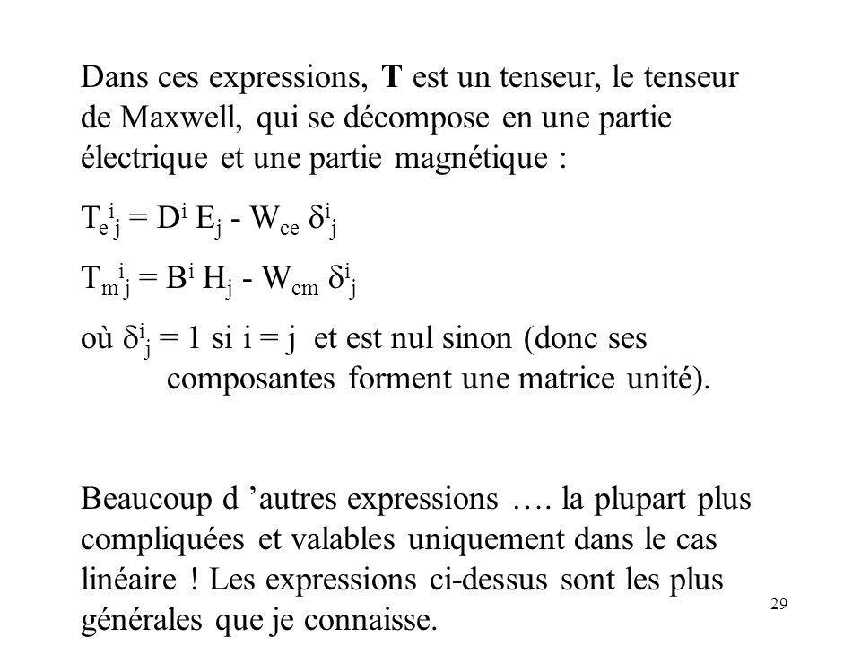 Dans ces expressions, T est un tenseur, le tenseur de Maxwell, qui se décompose en une partie électrique et une partie magnétique :