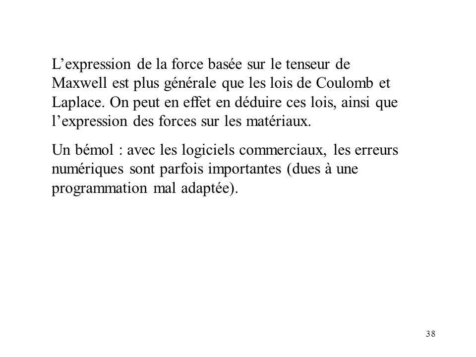 L'expression de la force basée sur le tenseur de Maxwell est plus générale que les lois de Coulomb et Laplace. On peut en effet en déduire ces lois, ainsi que l'expression des forces sur les matériaux.