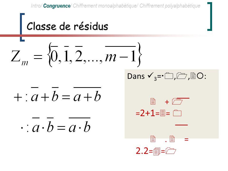 Classe de résidus Dans 3=0,1,2: 2 + 1 =2+1=3= 0 2 . 2 = 2.2=4=1