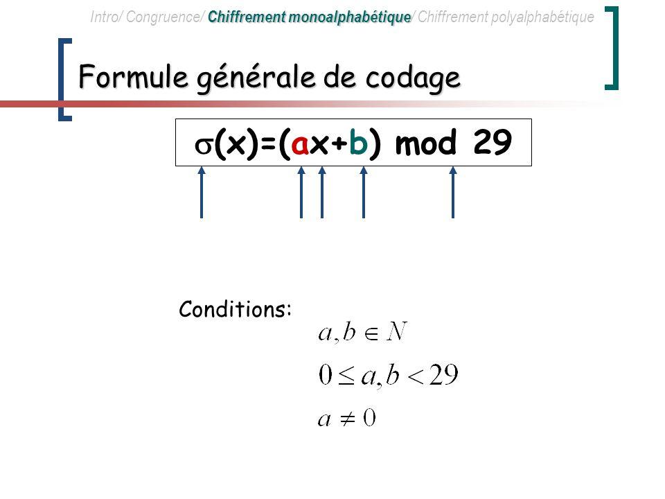 Formule générale de codage