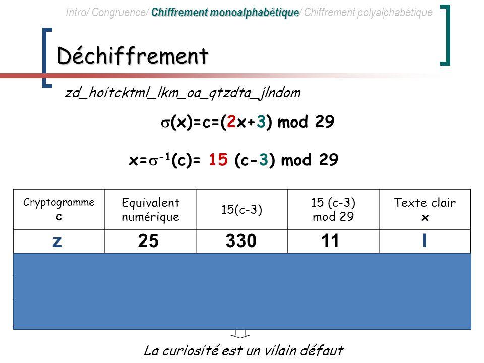 Déchiffrement z 25 330 11 l (x)=c=(2x+3) mod 29