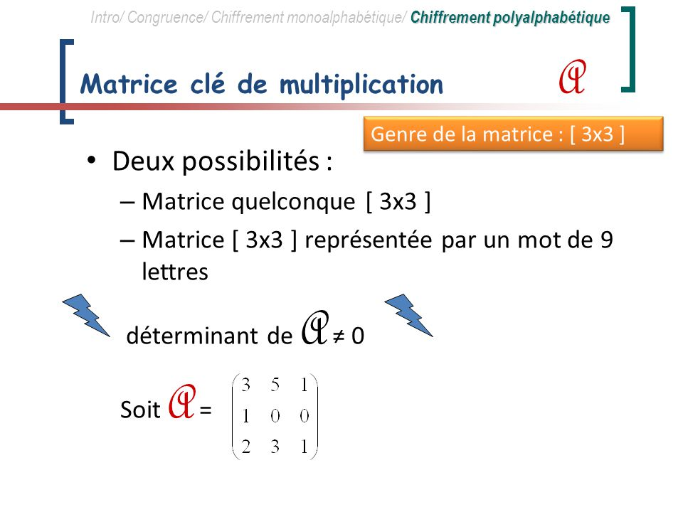 Matrice clé de multiplication A