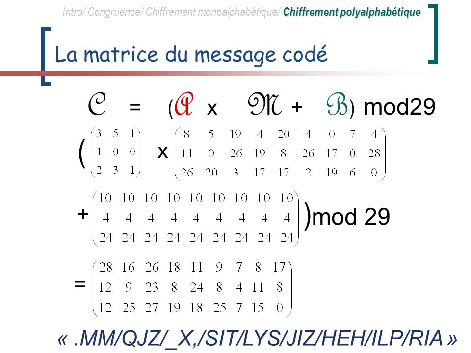 La matrice du message codé