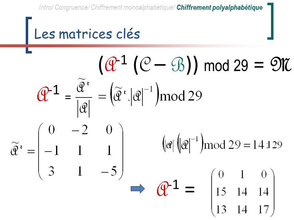 (A-1 (C – B)) mod 29 = M A-1 = A-1 = Les matrices clés
