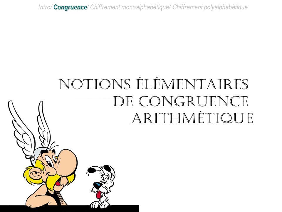 Notions élémentaires de congruence arithmétique
