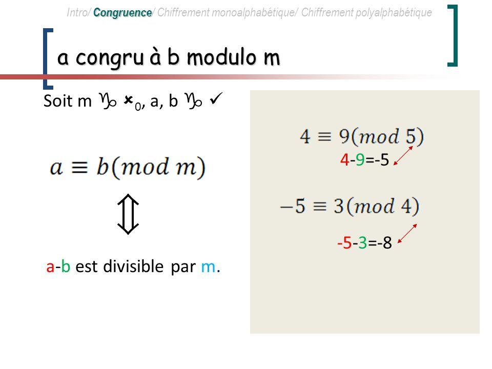 Soit m  0, a, b   a-b est divisible par m.