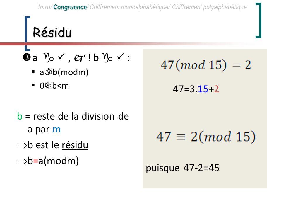Résidu a   ,  ! b   : 47=3.15+2 puisque 47-2=45
