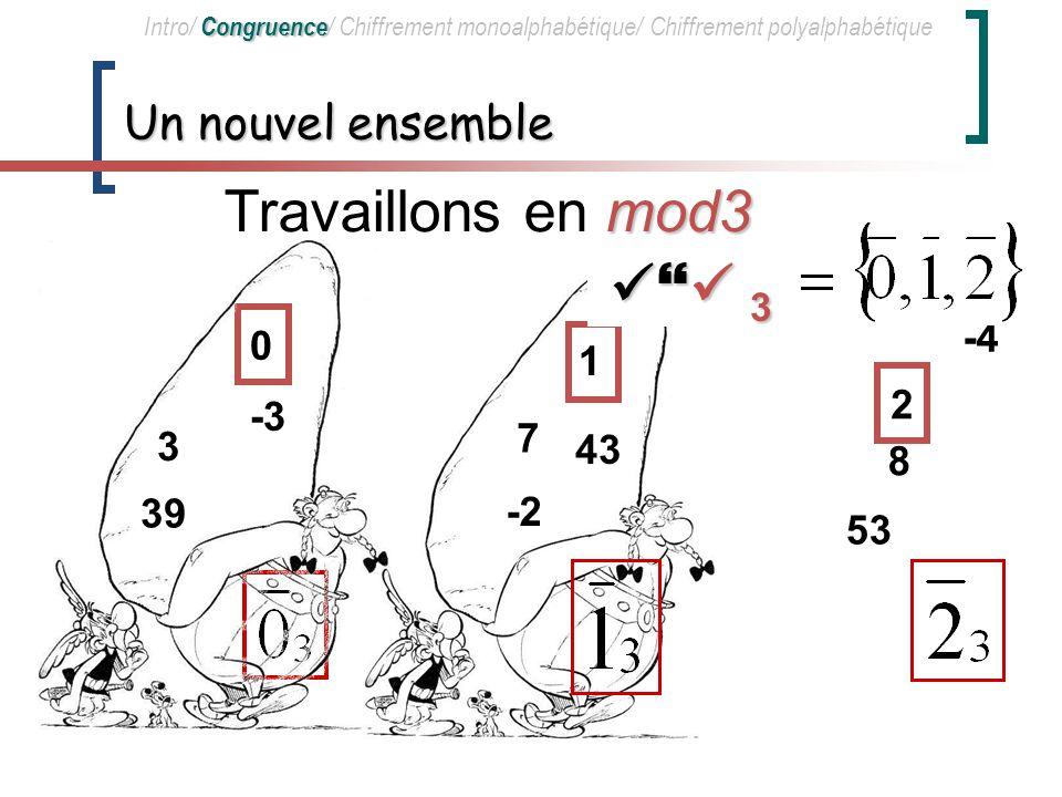 Travaillons en mod3  3 Un nouvel ensemble -4 1 2 -3 7 3 43 8 39 -2