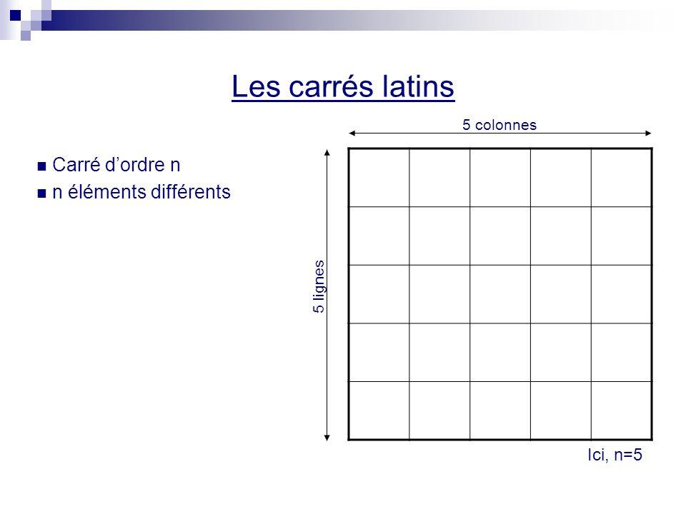 Les carrés latins Carré d'ordre n n éléments différents Ici, n=5