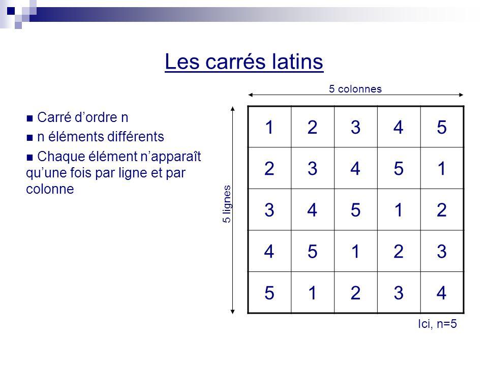 Les carrés latins 1 2 3 4 5 Carré d'ordre n n éléments différents