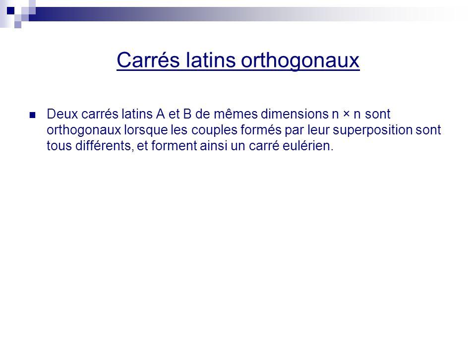 Carrés latins orthogonaux