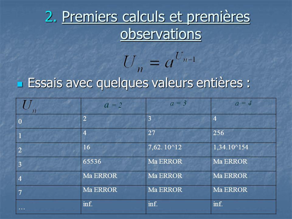 2. Premiers calculs et premières observations