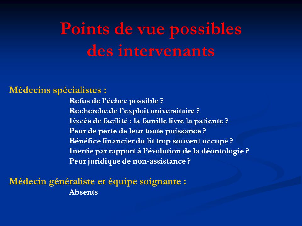 Points de vue possibles