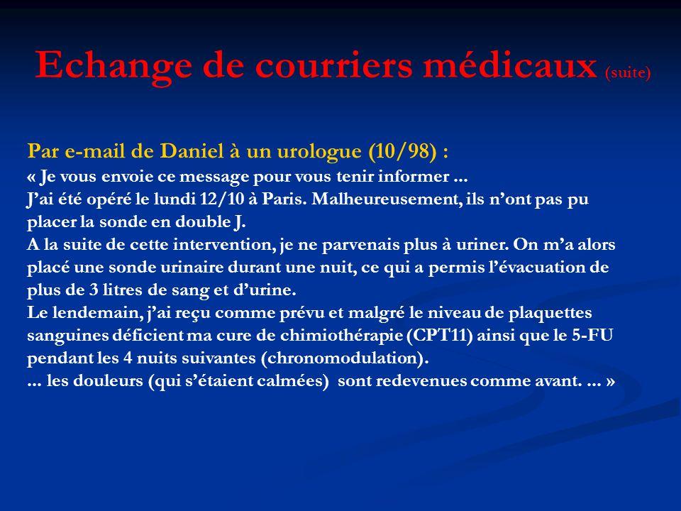 Echange de courriers médicaux (suite)