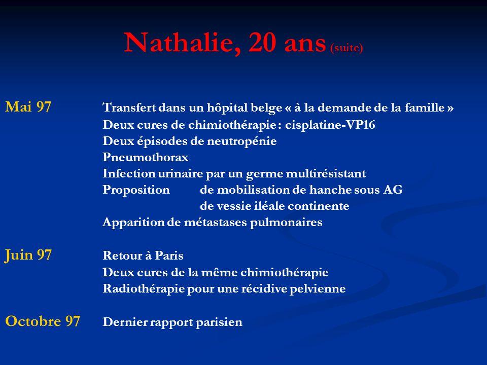 Nathalie, 20 ans (suite) Mai 97 Transfert dans un hôpital belge « à la demande de la famille » Deux cures de chimiothérapie : cisplatine-VP16.