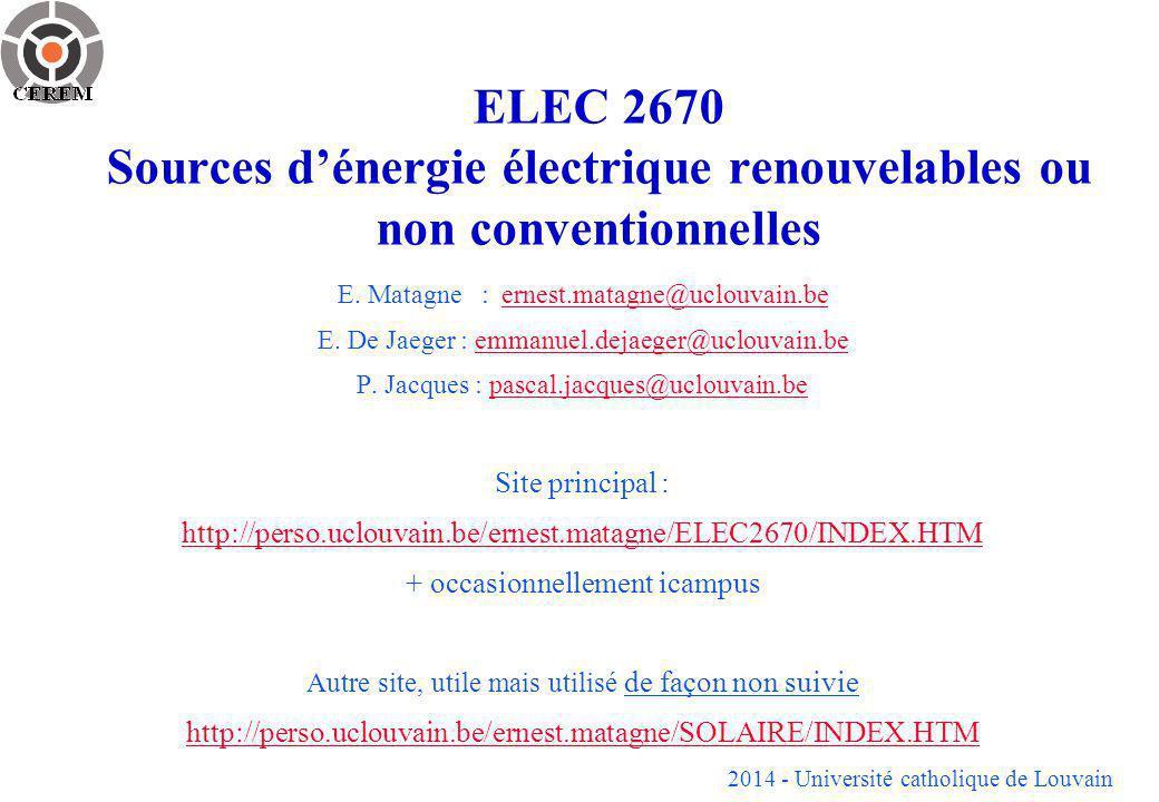 ELEC 2670 Sources d'énergie électrique renouvelables ou non conventionnelles